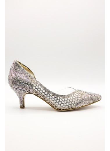 La scada Mr5360 Platın Kadın Abıye Ayakkabı Altın